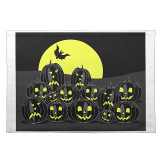 Halloween Pumpkins, moon and bat at night Place Mat