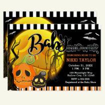Halloween Pumpkins Moonlight Baby Shower Invitation