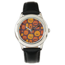Halloween Pumpkins Pattern Stainless Steel Black Wrist Watch