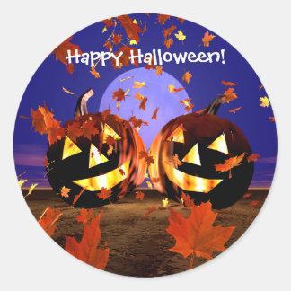 Halloween Pumpkins Playing Classic Round Sticker