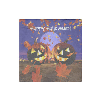 Halloween Pumpkins Playing Stone Magnet