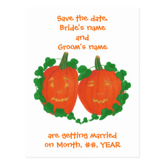 Halloween Pumpkins Save the date wedding postcards