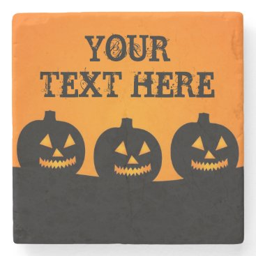 Halloween Themed Halloween Pumpkins Square Marble Stone Coaster