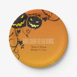 Halloween Pumpkins Wedding Paper Plates