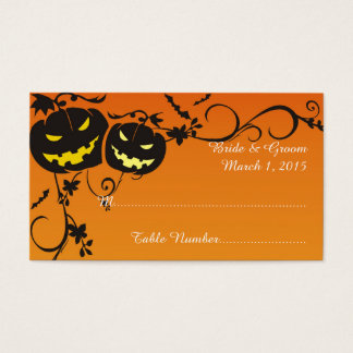 Halloween Pumpkins Wedding Place Card