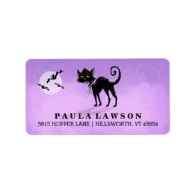 Halloween Purple Address Label - Black Cat