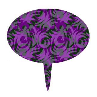 Halloween Purple and Green Swirl Decoration Cake Pick