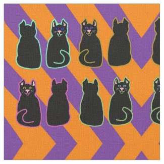 Halloween Purple and Orange Stripe Black Cats Fabric