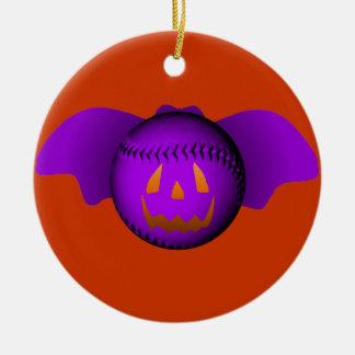 Halloween Purple Baseball Bat Ceramic Ornament