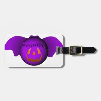 Halloween Purple Baseball Bat Luggage Tag