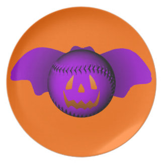 Halloween Purple Baseball Bat Plates