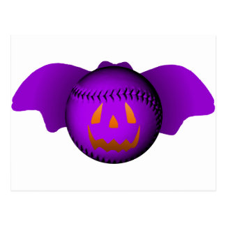 Halloween Purple Baseball Bat Postcards
