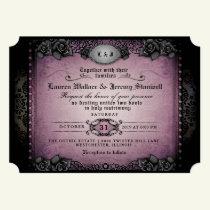 Halloween Purple & Black Gothic Together RECEPTION Invitation