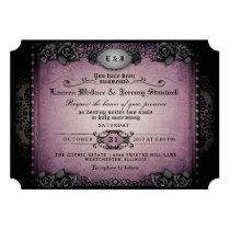 Halloween Purple Black Roses Gothic Wedding Invite