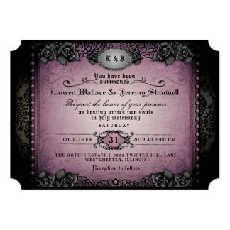 Halloween Purple Black Roses Gothic Wedding Invite