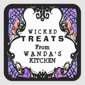 Halloween Purple Black & White Treats Label Square Sticker