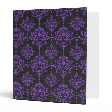 Halloween Themed Halloween Purple Damask Chalkboard Pattern 3 Ring Binder