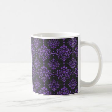 Halloween Themed Halloween Purple Damask Chalkboard Pattern Coffee Mug