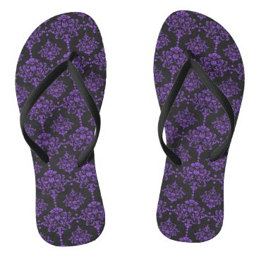 Halloween Themed Halloween Purple Damask Chalkboard Pattern Flip Flops