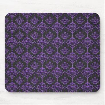 Halloween Themed Halloween Purple Damask Chalkboard Pattern Mouse Pad