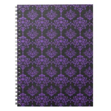 Halloween Themed Halloween Purple Damask Chalkboard Pattern Notebook