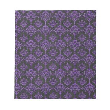 Halloween Themed Halloween Purple Damask Chalkboard Pattern Notepad