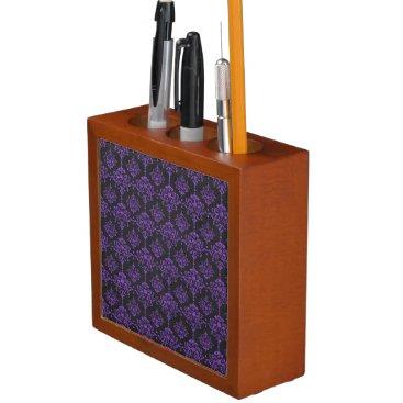 Halloween Themed Halloween Purple Damask Chalkboard Pattern Pencil/Pen Holder
