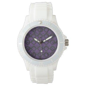Halloween Themed Halloween Purple Damask Chalkboard Pattern Watch