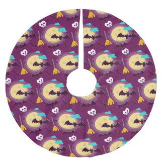 Halloween Purple Full Moon Scene Brushed Polyester Tree Skirt