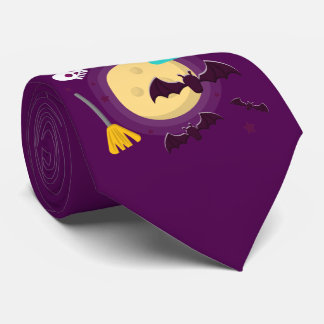 Halloween Purple Full Moon Scene Neck Tie