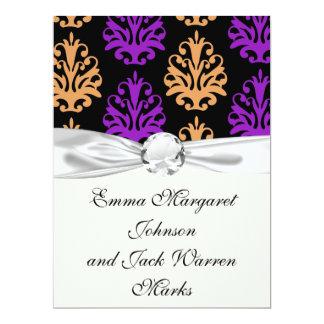 halloween purple orange black damask 6.5x8.75 paper invitation card