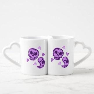 Halloween Purple Skull and Ghost Coffee Mug Set
