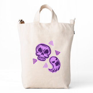 Halloween Purple Skull and Ghost Duck Bag