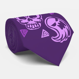 Halloween Purple Skull and Ghost Neck Tie