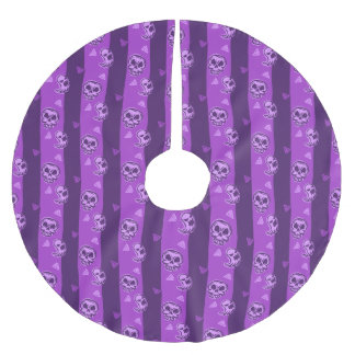 Halloween Purple Skull and Ghost Pattern Brushed Polyester Tree Skirt