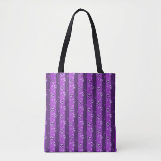 Halloween Purple Skull and Ghost Pattern Tote Bag