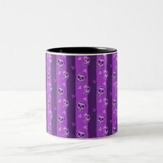 Halloween Purple Skull and Ghost Pattern Two-Tone Coffee Mug