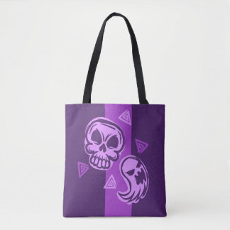 Halloween Purple Skull and Ghost Tote Bag