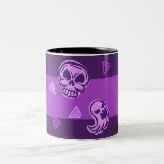 Halloween Purple Skull and Ghost Two-Tone Coffee Mug