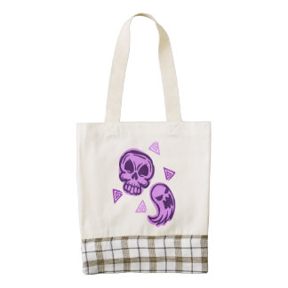 Halloween Purple Skull and Ghost Zazzle HEART Tote Bag