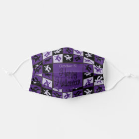 Halloween Purple Witch Mosaic Cloth Face Mask