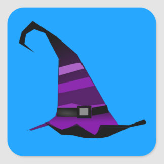 Halloween Purple Witches Hat Square Sticker