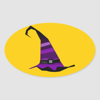 Halloween Purple Witches Hat Oval Sticker