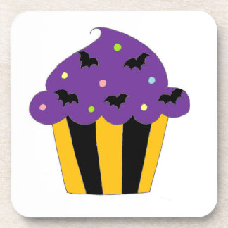 Halloween púrpura golpea la magdalena posavasos de bebidas