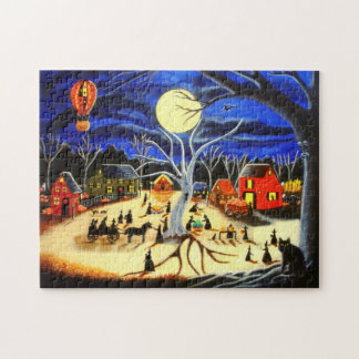 Halloween puzzle , witches prepare for Halloween