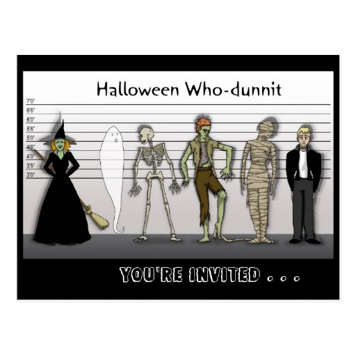 Halloween Que-Dunnit invita Postales