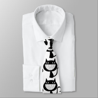 Halloween que hace muecas el gato corbatas personalizadas