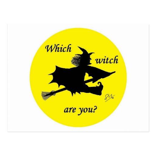 Halloween - que la bruja es usted postal