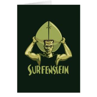 Halloween que practica surf Frankenstein Tarjeta De Felicitación