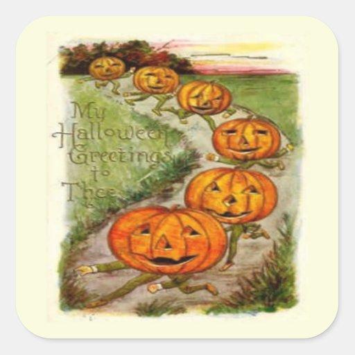 Halloween que saluda a Thee Pegatina Cuadrada